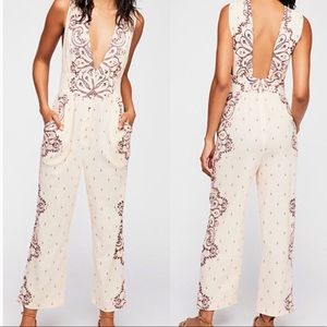 Free People Setting Sun paisley open back jumpsuit